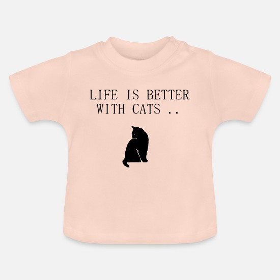 Pet Baby Clothes - Life is better with cats .. - Baby T-Shirt crystal pink
