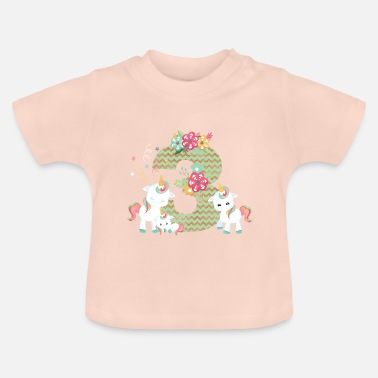 Unicorns 3rd birthday number unicorns unicorn kids baby 3rd - Baby T-Shirt