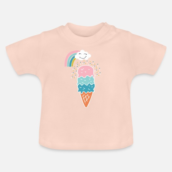 Birthday Baby Clothes - Cute Rainbow Ice Cream Gift - Baby T-Shirt crystal pink