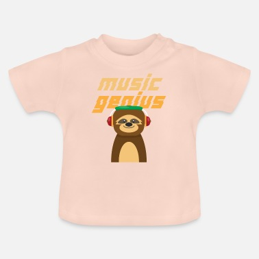 Säng Sloth Slowly Lazy Sleeping Music Gift - Baby-T-shirt