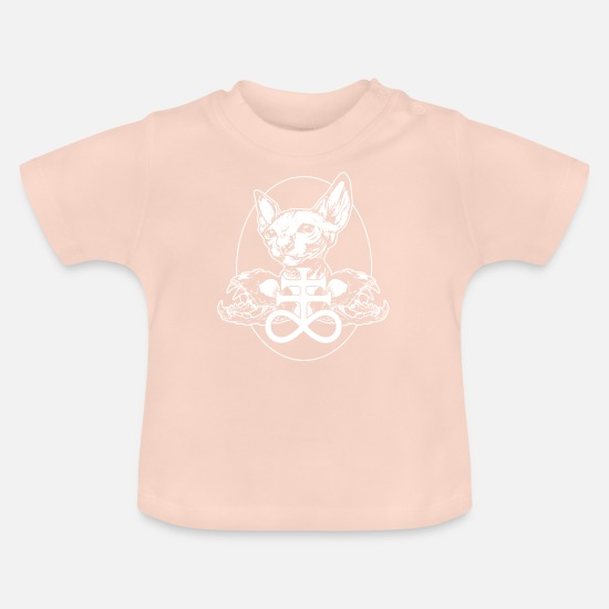 Gift Idea Baby Clothes - Sphinx Cat Black Metal Cats Skull Gift - Baby T-Shirt crystal pink
