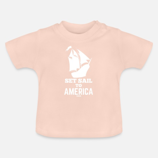 Inde Vêtements Bébé - Marin de Christophe Colomb USA - T-shirt Bébé rose cristal