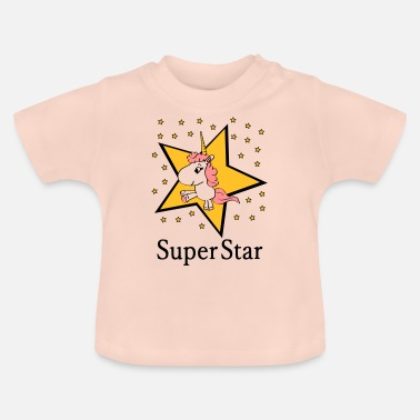 Fichissimo Unicorn New Super STAR Gift Birth Baby Girl - Maglietta per neonato