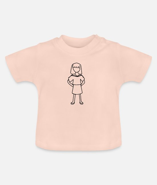 School Baby Clothes - Girl with school uniform - Baby T-Shirt crystal pink
