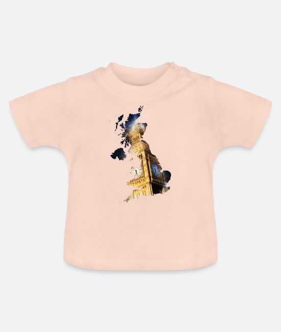 Union Jack Baby T-Shirts - Map of UK - Baby T-Shirt crystal pink