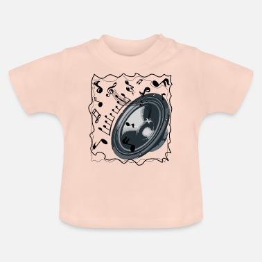 Högtalare Högtalare och noter flygande Dance - T-shirt baby 1eb81b7f7fa86