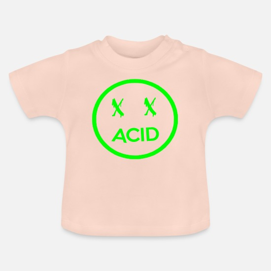 Acid Folk Baby Clothes - acid face - Baby T-Shirt crystal pink