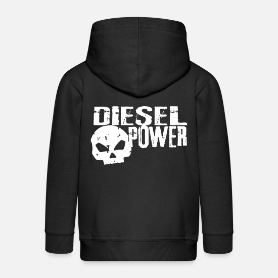Diesel Hoodies & Sweatshirts - diesel power, only the diesels belong to the world - Kids' Premium Zip Hoodie black