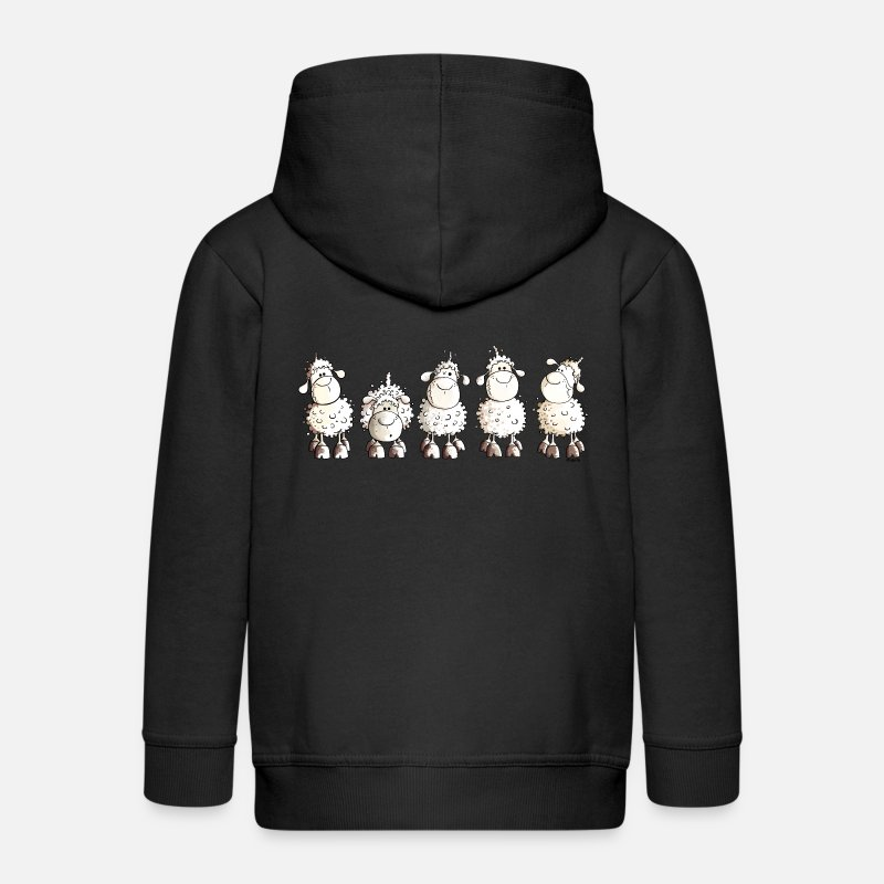Funny Hoodies & Sweatshirts - Funny White Sheep - Kids' Premium Zip Hoodie black
