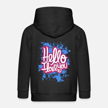 Hello HELLO I LOVE YOU - Kids' Premium Zip Hoodie