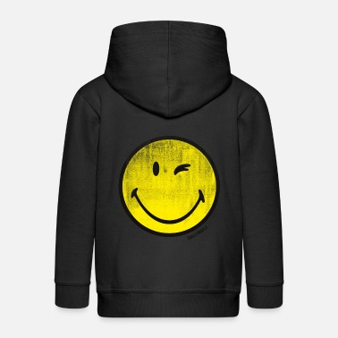 Emoticon SmileyWorld Classic Winking Smiley - Felpa con zip Premium per bambini