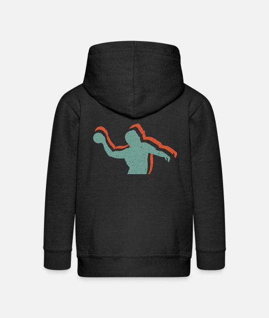 Training Hoodies & Sweatshirts - Handball player in retro vintage style - Kids' Premium Zip Hoodie black