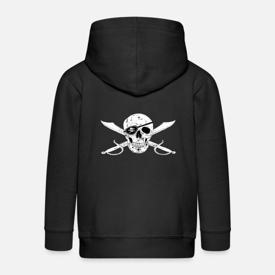 Pirate Hoodies & Sweatshirts - Pirate flag Jolly Roger m eye patch - Kids' Premium Zip Hoodie black