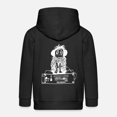 Urban &amp Stereo monkey listens to music through headphones - Kids' Premium Zip Hoodie