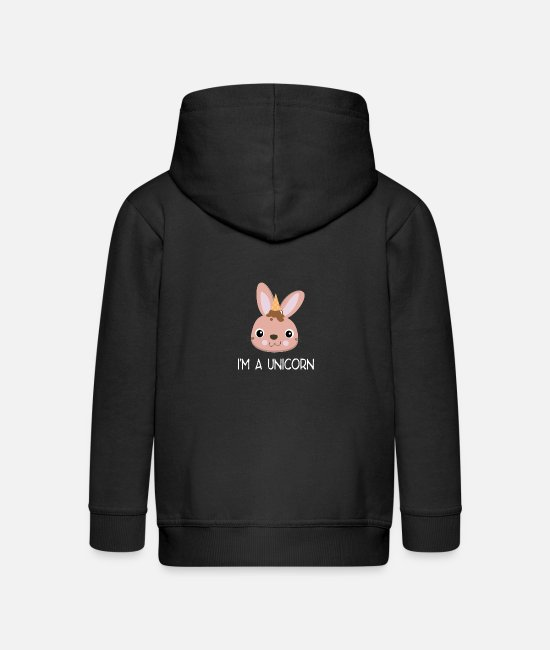 Birthday Hoodies & Sweatshirts - I'm a Unicorn bunny - Kids' Premium Zip Hoodie black