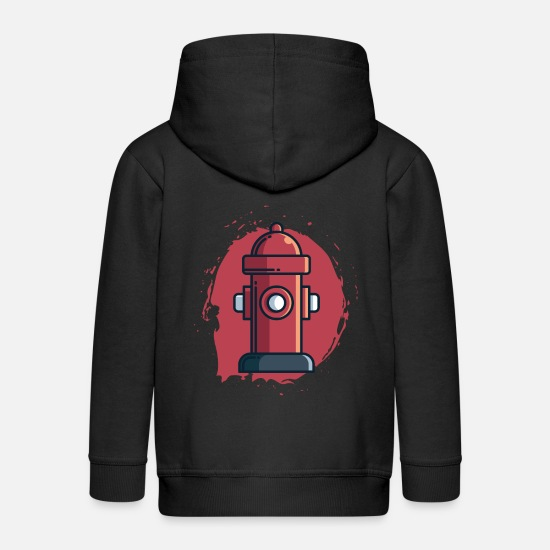 Fire Fighter Hoodies & Sweatshirts - Hydrant Gift, Fire Department Water Fire Extinguish - Kids' Premium Zip Hoodie black