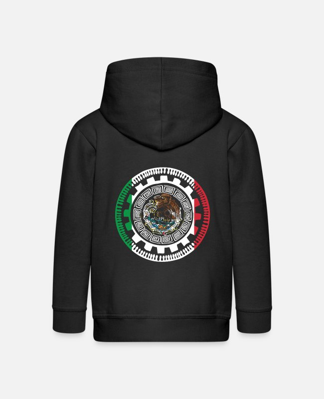 South America Hoodies & Sweatshirts - Historically Mexican Aztek Mexico Mayan Calendar - Kids' Premium Zip Hoodie black
