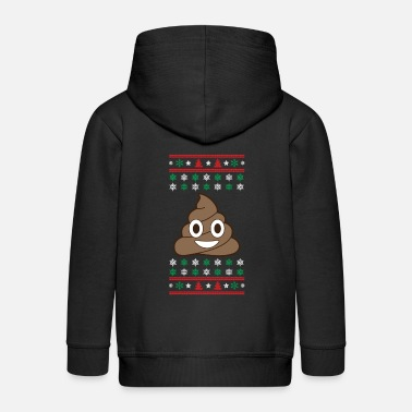 Ugly Christmas Poop Emoji Christmas Ugly Sweater Christmas - Kids' Premium Zip Hoodie