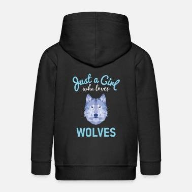 Girl Girls Wolf Gift design - Kids' Premium Zip Hoodie