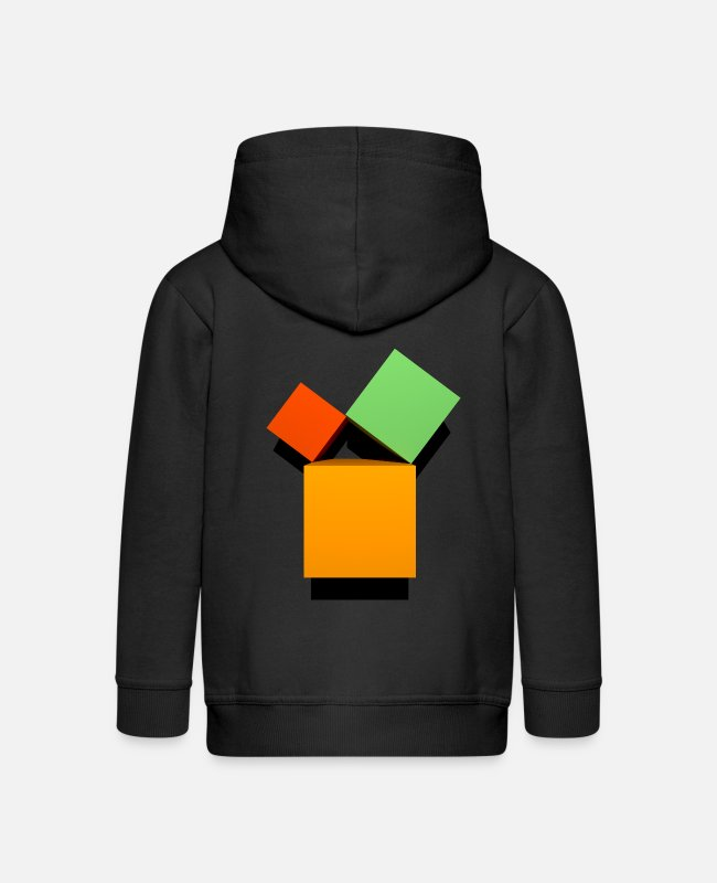 Maths Hoodies & Sweatshirts - Pythagoras 3D set - Kids' Premium Zip Hoodie black