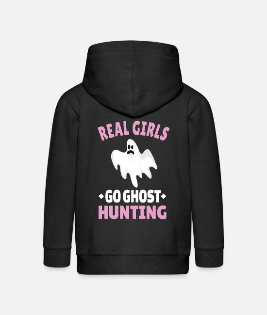 Paranormal Hoodies & Sweatshirts - GHOST HUNTING: Girls Ghost Hunting - Kids' Premium Zip Hoodie black