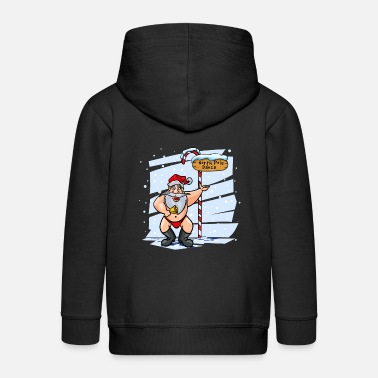 Long Underwear Sweet Santa Claus North Pole Christmas Xmas - Kids' Premium Zip Hoodie