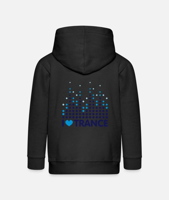 Wave Hoodies & Sweatshirts - I Love Trance - Kids' Premium Zip Hoodie black