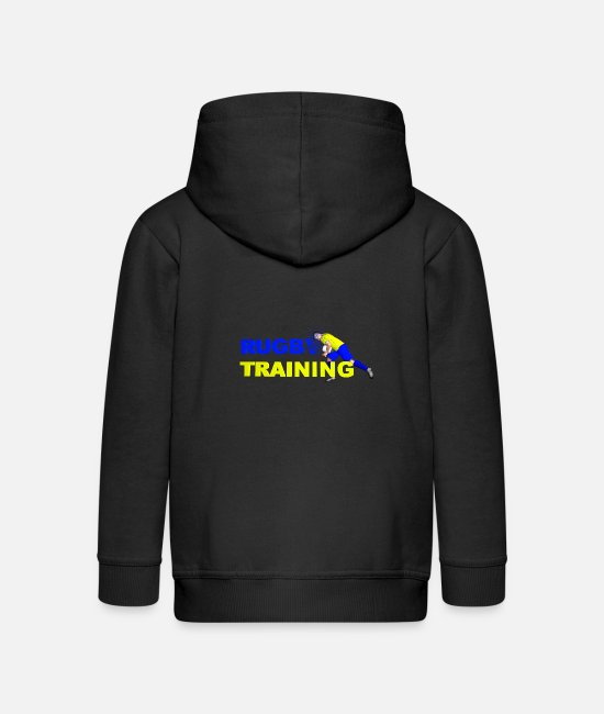 Training Hoodies & Sweatshirts - RUGBY TRAINING Blue and yellow - Kids' Premium Zip Hoodie black