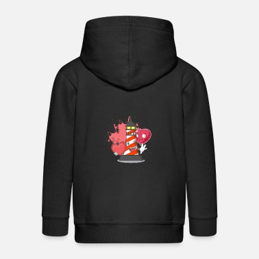 Lighthouse and heart - Kids' Premium Zip Hoodie