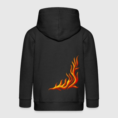 Flame / T-shirt, Motiv 1, Fire, digital, yellow, red - Kids' Premium Zip Hoodie