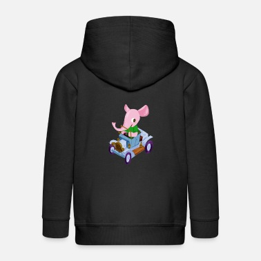 Vintage Elephant in a vintage car - Kids' Premium Zip Hoodie