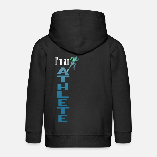 Muscular Hoodies & Sweatshirts - Gym Athlete I am an athlete - Kids' Premium Zip Hoodie black