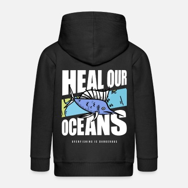 Whale Overfishing Protest Earth Day Climate Change Coral - Kinder Premium Kapuzenjacke