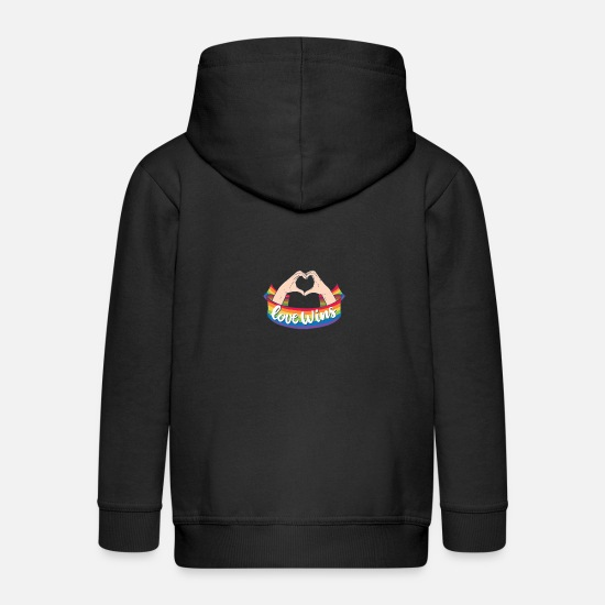 Gay Pride Hoodies & Sweatshirts - Love LGBT Wins Gay Pride Rainbow Coming Out - Kids' Premium Zip Hoodie black