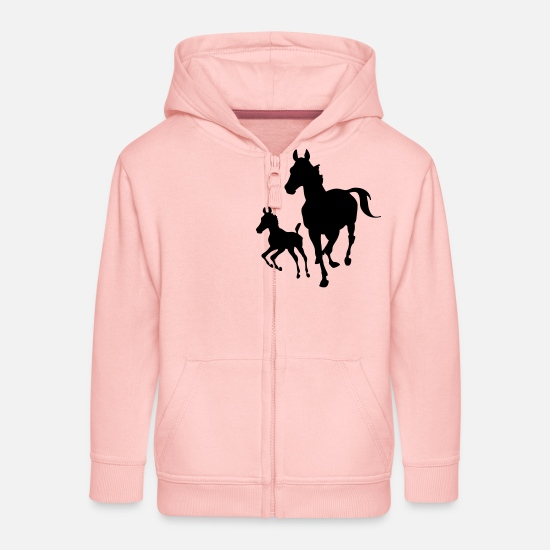Animal Sweat-shirts - Jument avec poulain - Veste à capuche premium Enfant rose cristal
