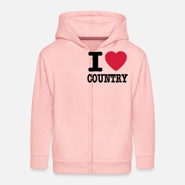 Country i love country / i heart country - Felpa con zip premium per bambini
