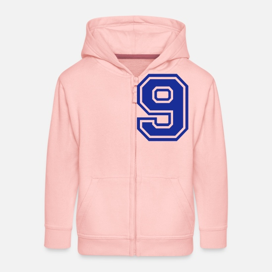 Number Hoodies & Sweatshirts - 9 - Kids' Premium Zip Hoodie crystal pink