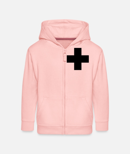 Jesus Hoodies & Sweatshirts - Kreuz / cross (Plus, 1c) - Kids' Premium Zip Hoodie crystal pink