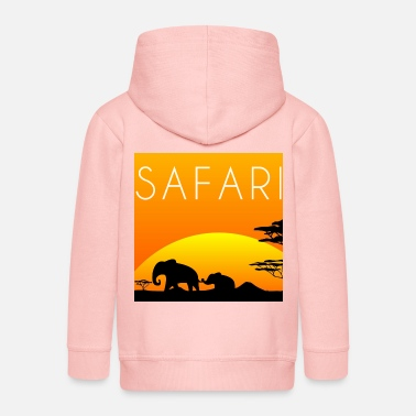 safari, elephants, sun - Kids' Premium Zip Hoodie