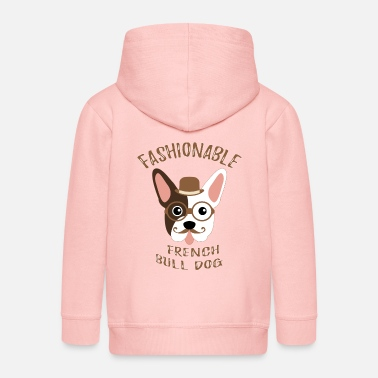 Dog Fashion Bulldog French Dog Fashionable Vintage Hipster - Kids' Premium Zip Hoodie