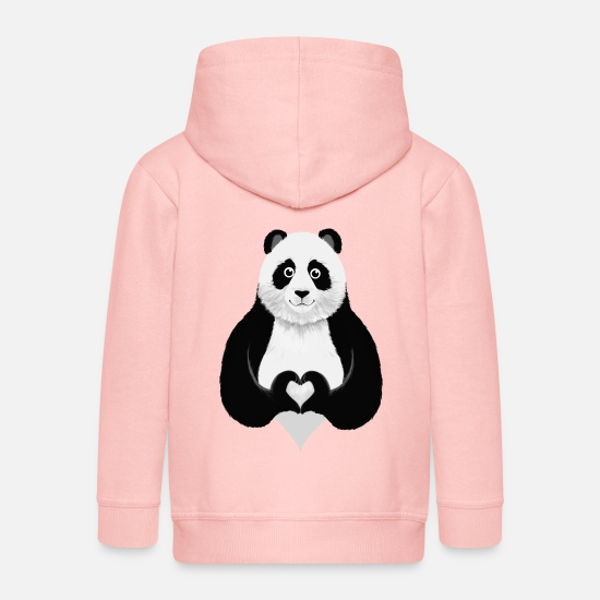 Christmas Hoodies & Sweatshirts - Cute Panda Heart Hand Sign - Kids' Premium Zip Hoodie crystal pink