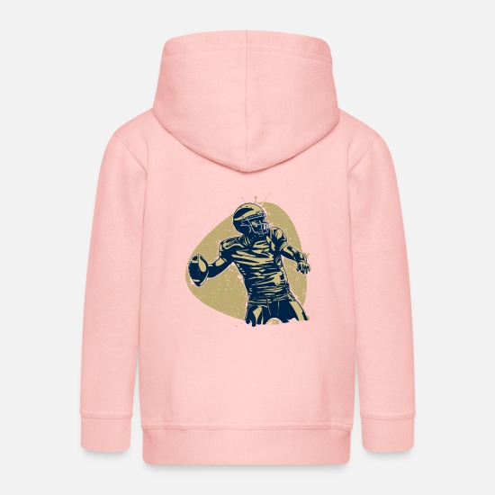 American Football Hoodies & Sweatshirts - Quarterback Hero American Football Champion Retro - Kids' Premium Zip Hoodie crystal pink