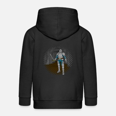Knight with sword in front of a cave background - Kids' Premium Zip Hoodie
