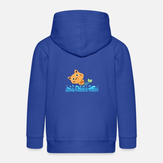 Doux Sweat-shirts - Sirène Cat Quelque chose de louche! shirt de chats - Veste à capuche premium Enfant bleu royal