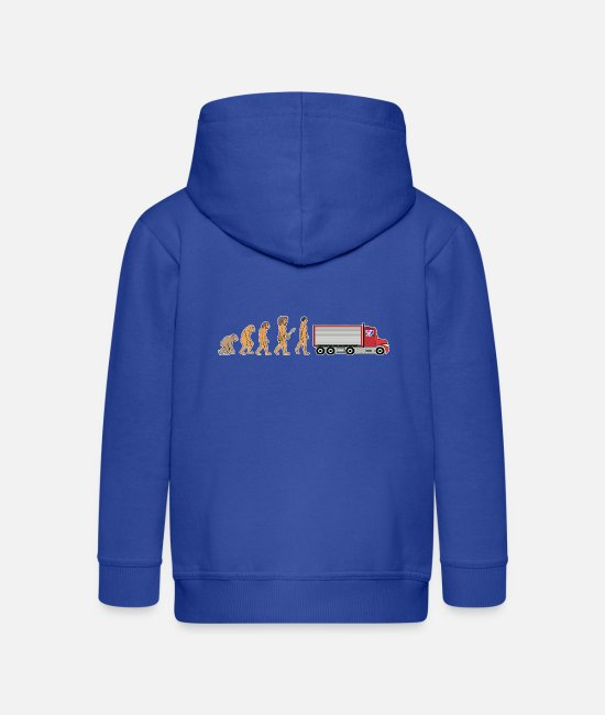 Pilot Hoodies & Sweatshirts - Funny Female Truck Driver Evolution Truck Gift - Kids' Premium Zip Hoodie royal blue
