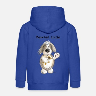 Bearded Collie Bearded Collie With Teddy - Kids' Premium Zip Hoodie