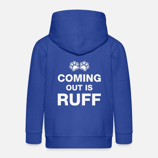 Gift Idea Hoodies & Sweatshirts - Coming Out Is Ruff - Kids' Premium Zip Hoodie royal blue