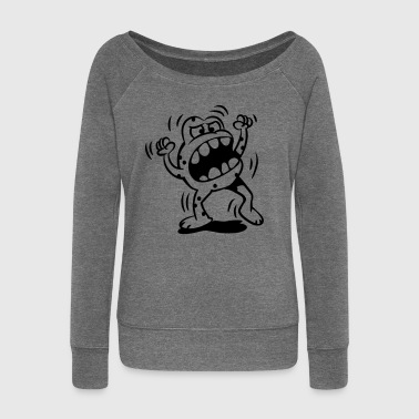 The little monster is very angry  Aprons - Women's Boat Neck Long Sleeve Top