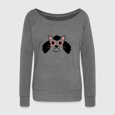 Afro Kitty - Women's Boat Neck Long Sleeve Top