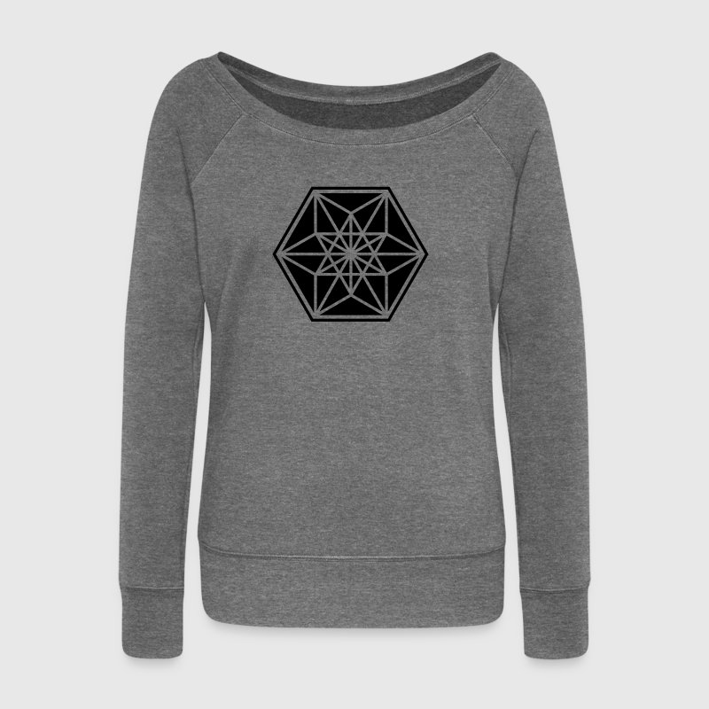 Cuboctahedron, sacred geometry,vector equilibrium - Women's Boat Neck Long Sleeve Top